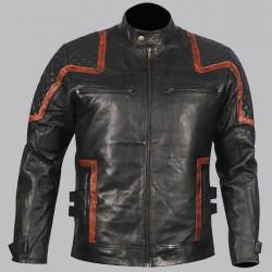 coolhides Mens Vintage Cafe Racer Biker Real Leather Jacket