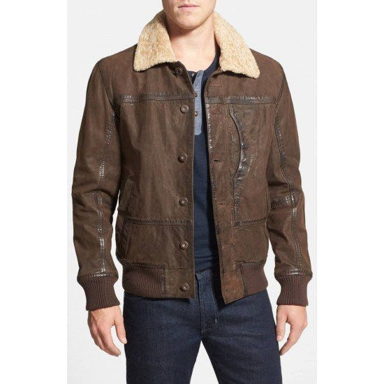acd3f44da Men's Leather Bomber Jacket with Faux Shearling Collar