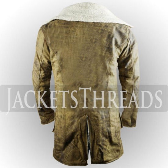 Dark Knight Rises Bane Genuine Leather Shearling Brown Ginger Trench Coat//Jacket