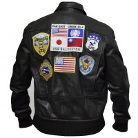 Top Gun Tom Cruise Men Fighter Jet Pilot Brown Fur Cowhide Leather Jacket