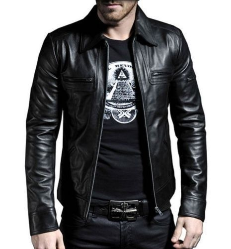 New Men's Genuine Lambskin Leather Motorcycle Jacket Slim fit Biker Jacket