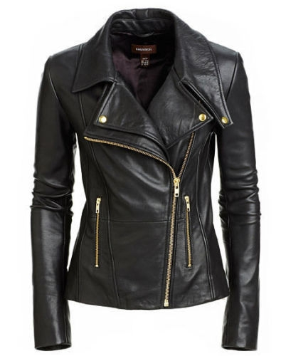 New Women's Black Slim Fit Biker Style Real Leather Jacket