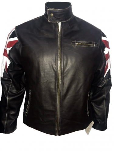NEW Men's Biker Vintage Motorcycle Cafe Racer UK Flag Leather Jacket