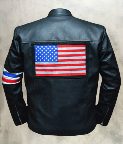 Peter Fonda US Flag Easy Rider Leather Jacket