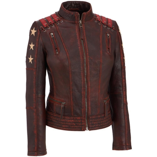 New Women's Distressed Stars Vintage Stripes Style Cafe Racer Leather Jacket